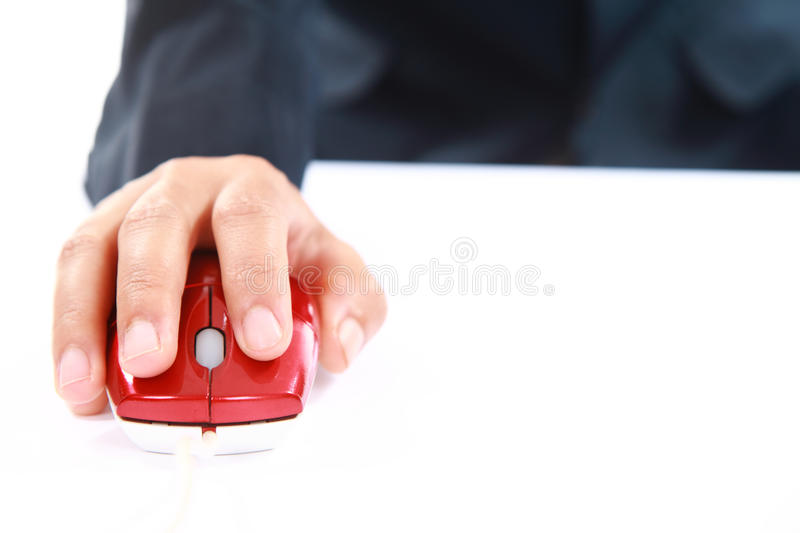 Hand using red mouse computer royalty free stock image