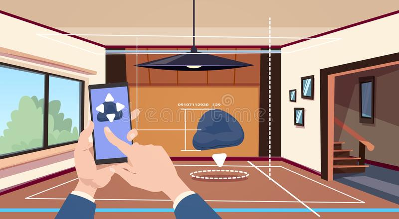 Hand Using Smart Home App Of Control System Over Living Room Background, Technology Of House Automation Concept vector illustration
