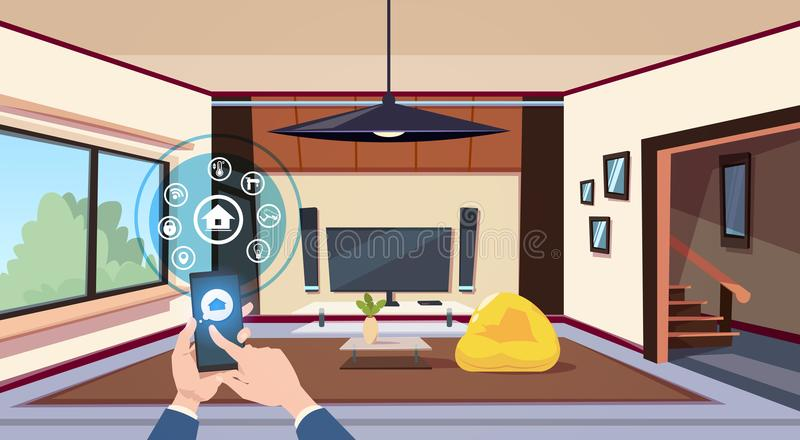 Hand Using Smart Home App Interface Of Control Panel Over Living Room Interior Modern Technology Of House Monitoring. Concept Flat Vector Illustration stock illustration
