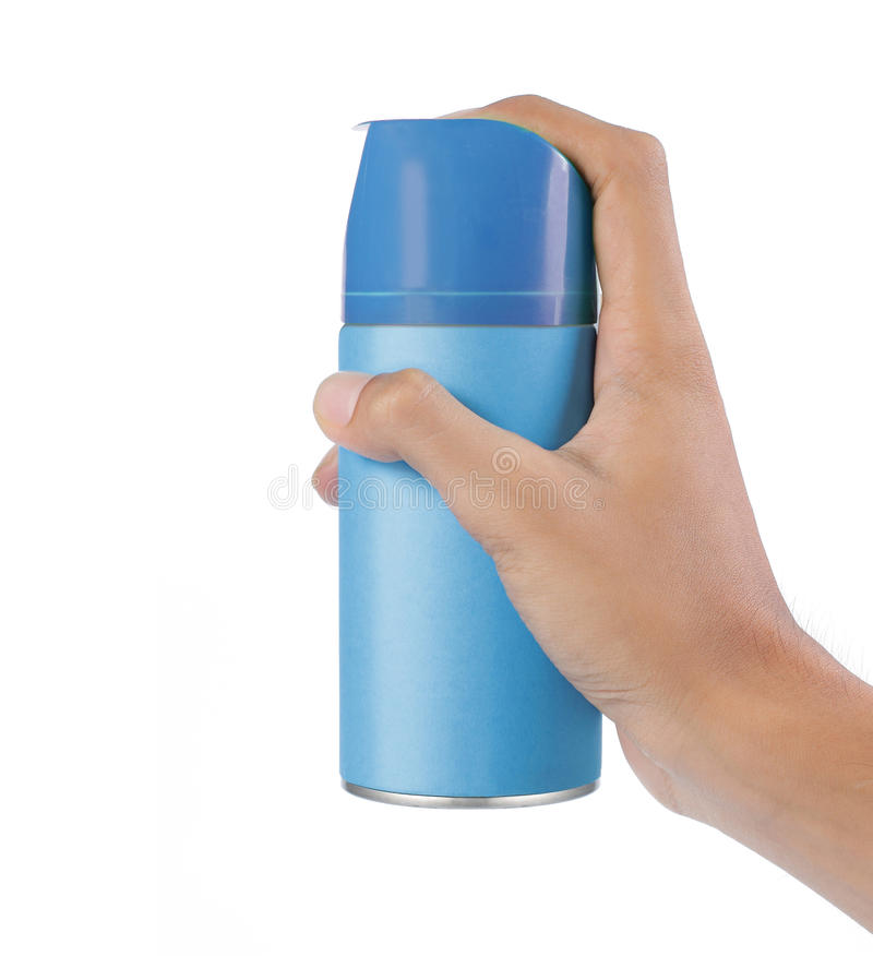 Hand using spray can royalty free stock photos