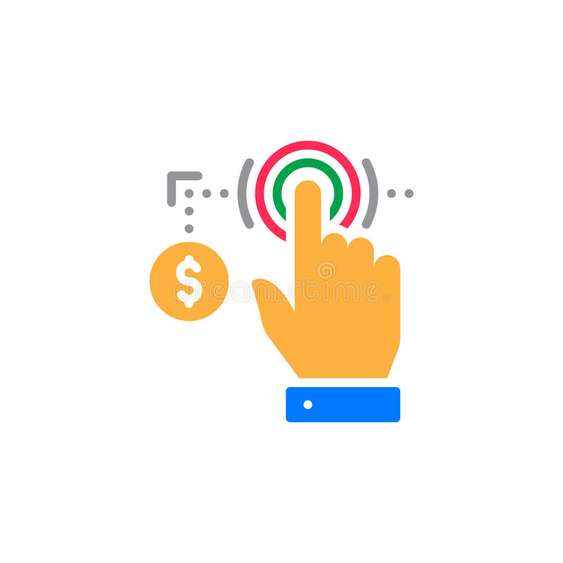 Hand using touch screen and coin icon vector, filled flat sign, solid colorful pictogram isolated on white. stock illustration