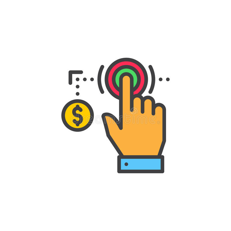 Hand using touch screen and coin line icon, filled outline vector sign, linear colorful pictogram isolated on white. royalty free illustration