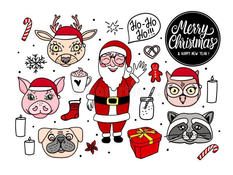 Hand utdragna Santa Claus med djura tecken För vektorillustration för glad jul uppsättning för feriedesign som isoleras på vit vektor illustrationer