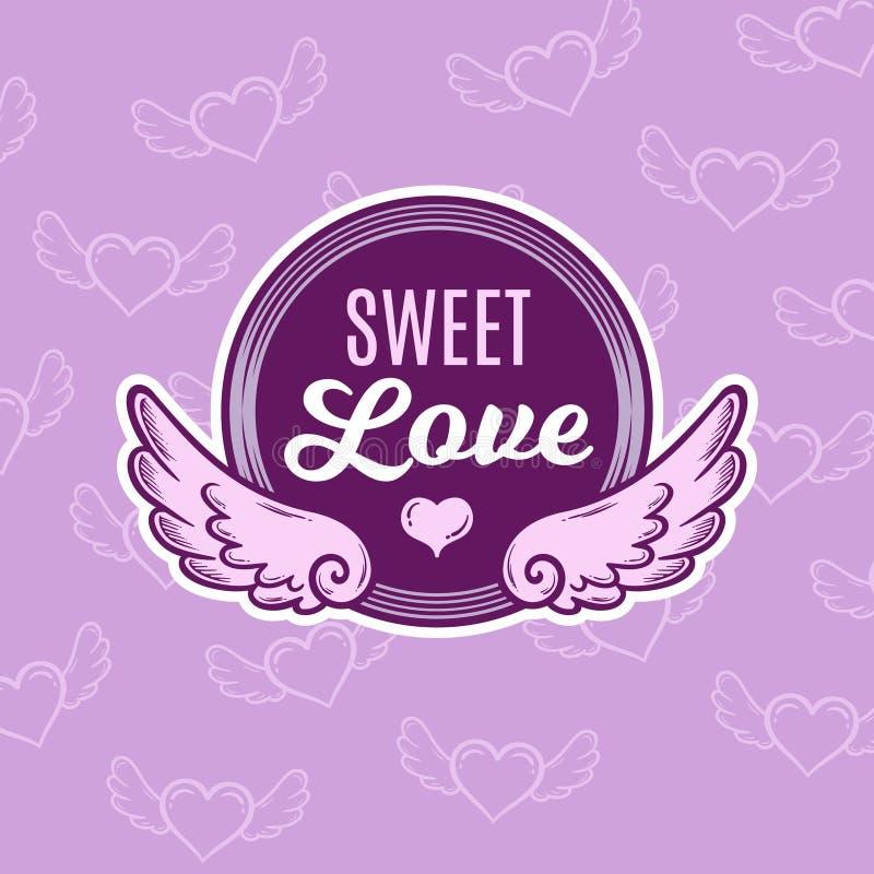 Hand utdragna Valentine Winged Badge royaltyfria foton
