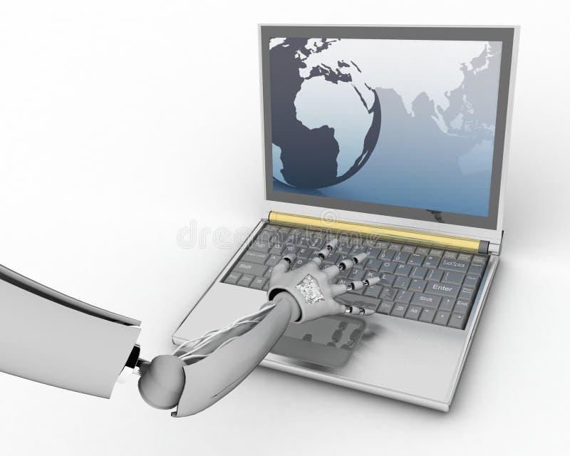 Hand van androïde af:drukken en laptop royalty-vrije illustratie