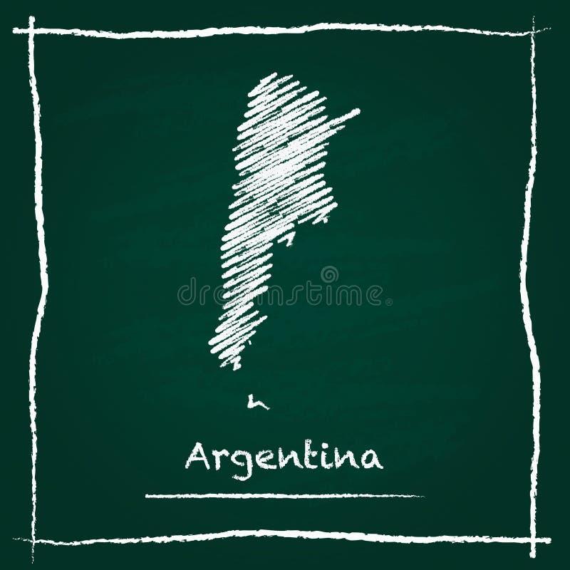 Hand van de het overzichts de vectordiekaart van Argentinië wordt getrokken met stock illustratie