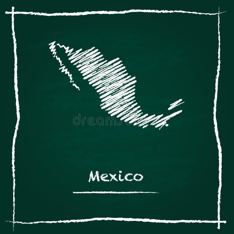 Hand van de het overzichts de vectordiekaart van Mexico met krijt wordt getrokken stock illustratie