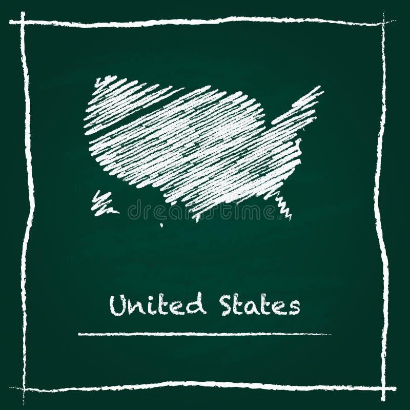 Hand van de het overzichts de vectordiekaart van Verenigde Staten wordt getrokken met royalty-vrije illustratie