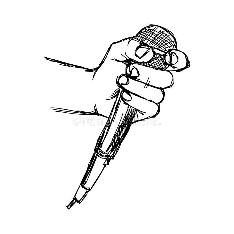 Hand van de illustratie de vectordiekrabbel van schetshand wordt getrokken met microp stock illustratie