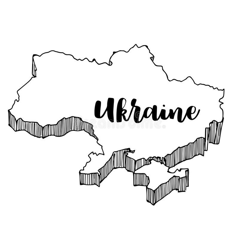 Hand van de kaart die van de Oekraïne wordt getrokken vector illustratie