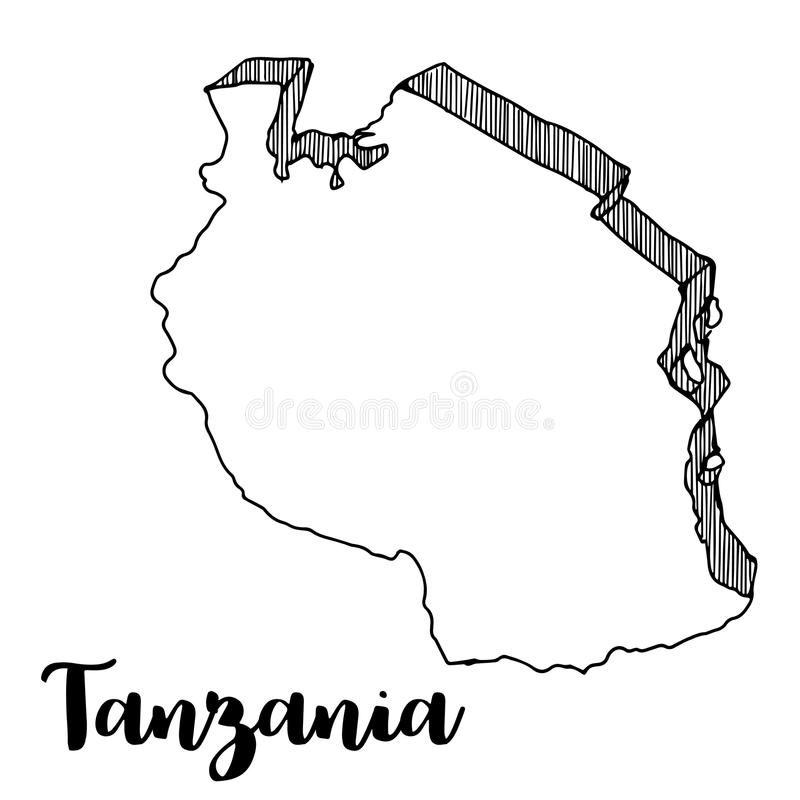 Hand van de kaart die van Tanzania wordt getrokken stock illustratie