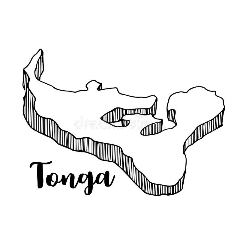Hand van de kaart die van Tonga wordt getrokken vector illustratie