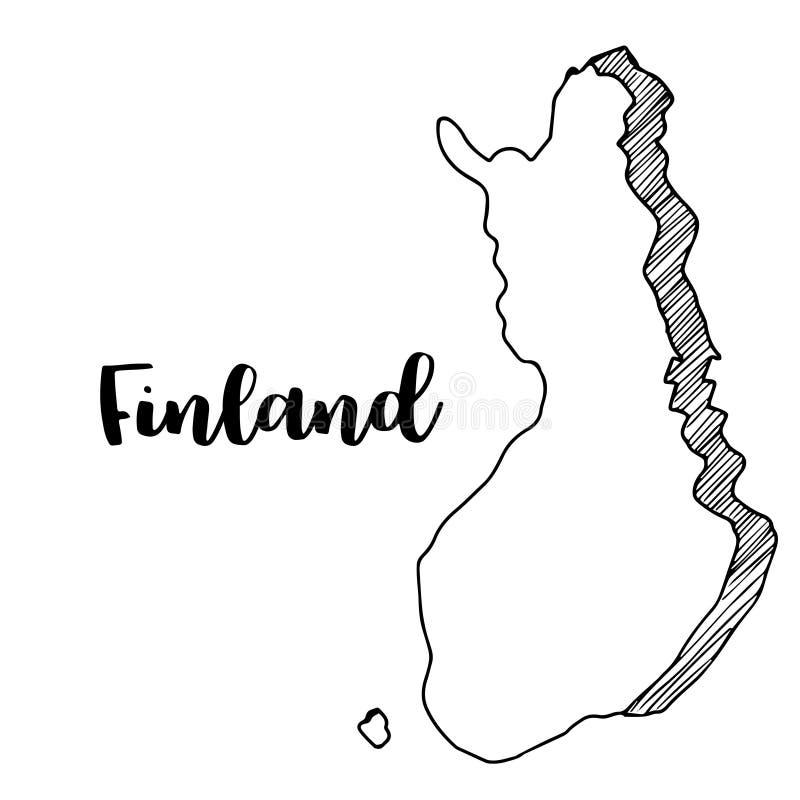 Hand van de kaart die van Finland wordt getrokken royalty-vrije illustratie