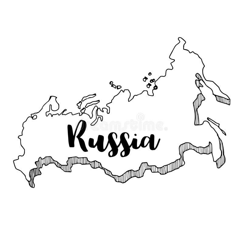 Hand van de kaart die van Rusland wordt getrokken stock illustratie