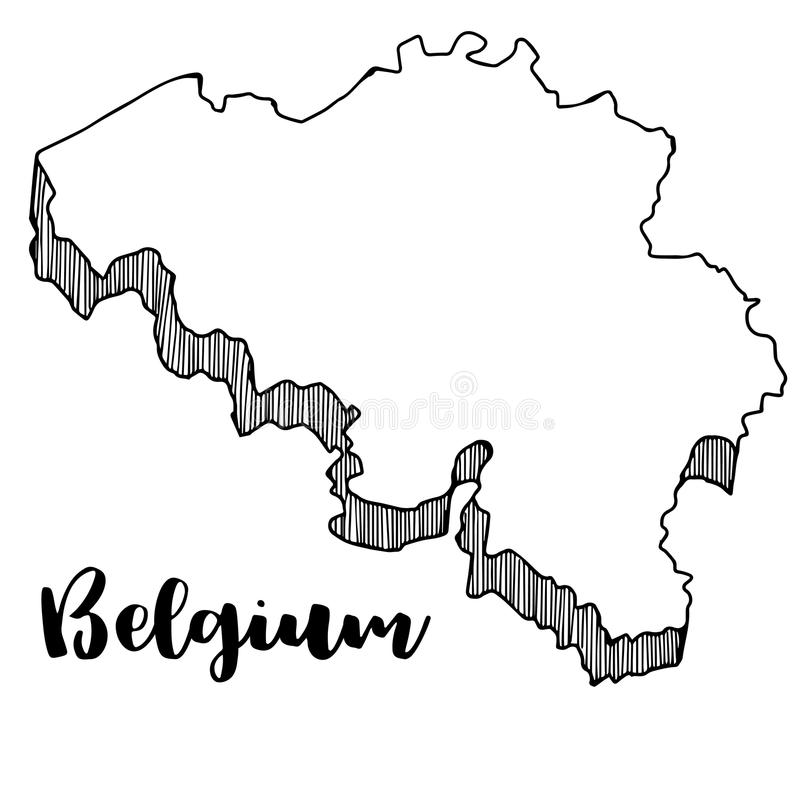 Hand van de kaart van België, illustratie wordt getrokken die royalty-vrije illustratie
