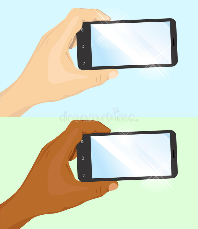 Hand van de Kaukasische en Afrikaanse Amerikaanse mens die zwarte horizontale smartphone houden stock illustratie