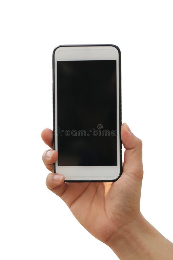 Hand van een mens die een smartphone houden die ter beschikking op witte bac wordt geïsoleerd royalty-vrije stock foto