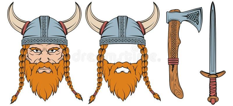 Hand van een Viking in een helm wordt getrokken die stock afbeeldingen