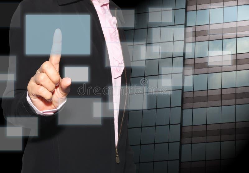 Hand van een vinger van het onderneemstergebruik om gloeien te raken leeg aangaande stock foto's