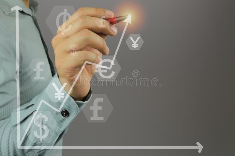 Hand van een zakenman die een pen in hand punt houden aan hoogste arr stock illustratie