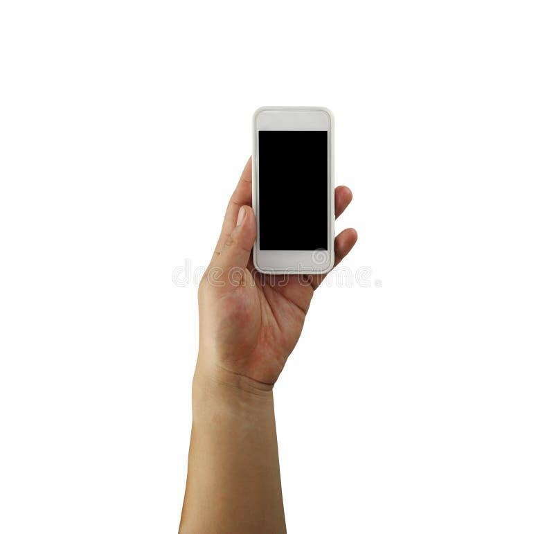 Hand van een zakenman die een smartphone in zijn geïsoleerde hand houden royalty-vrije stock afbeeldingen
