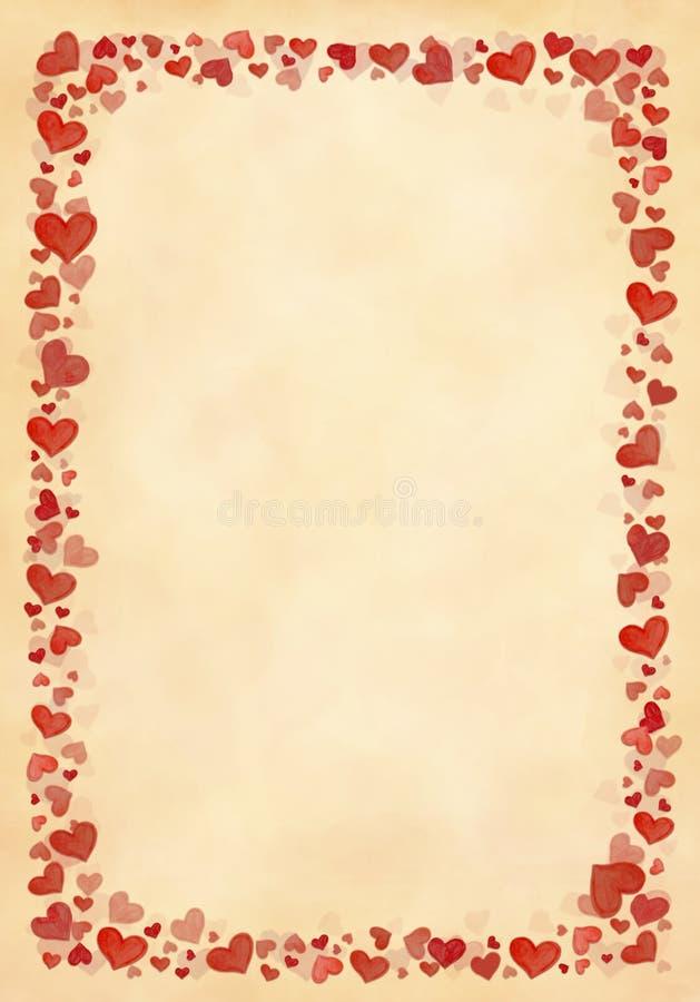 Hand van het frame schilderde rode harten stock afbeelding