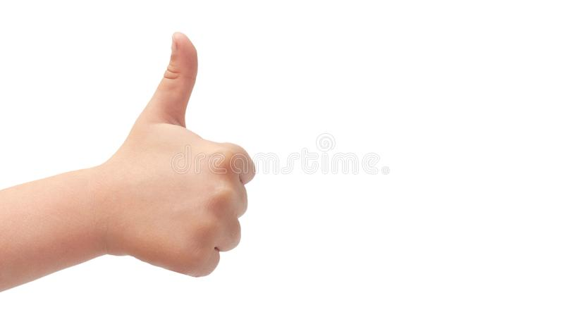 Hand van het gebaar van de jonge geitjeshand van duimen omhoog Geïsoleerdj op witte achtergrond exemplaarruimte, malplaatje royalty-vrije stock afbeeldingen