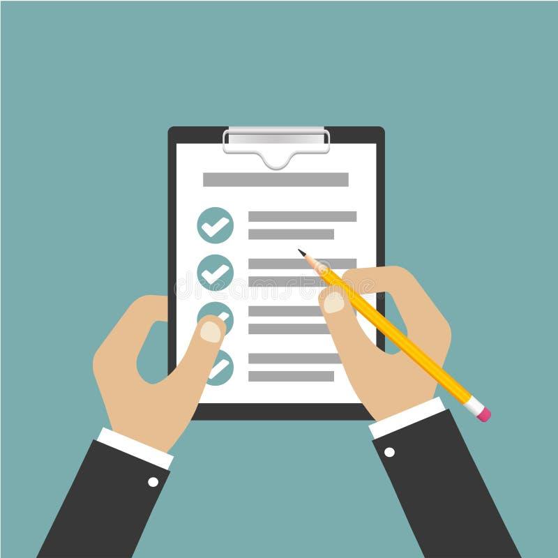 Hand van het klembord van de zakenmanholding met blad van document en potlood Moderne stijl Vector illustratie Groene Achtergrond stock illustratie