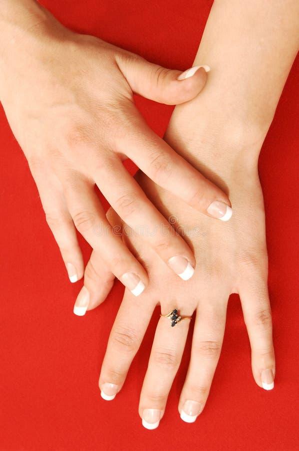 Hand van jonge vrouw. royalty-vrije stock afbeelding