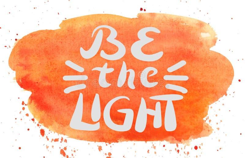 Hand van letters voorzien licht is op waterverfachtergrond stock illustratie