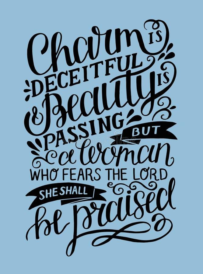 Hand van letters voorzien met de Charme van het bijbelvers is bedrieglijk en de schoonheid gaat over, maar een vrouw, die Lord vr royalty-vrije illustratie