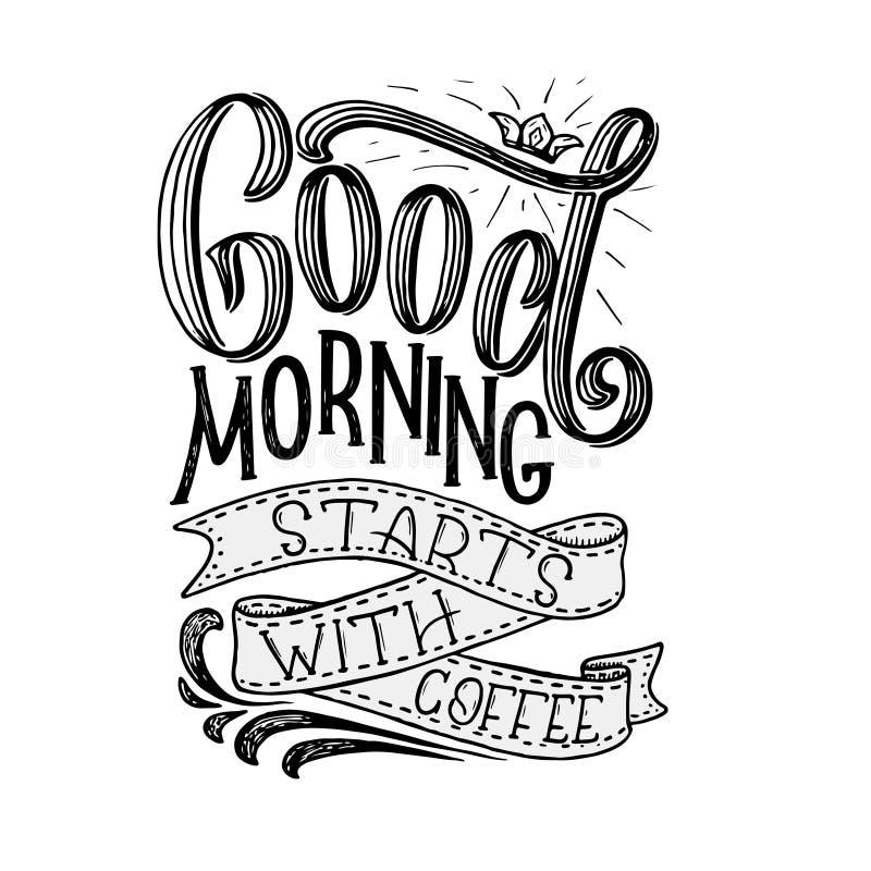Hand-van letters voorziend citaat met schets voor koffiewinkel of koffie Hand getrokken uitstekende typografiesamenstelling Het v stock illustratie