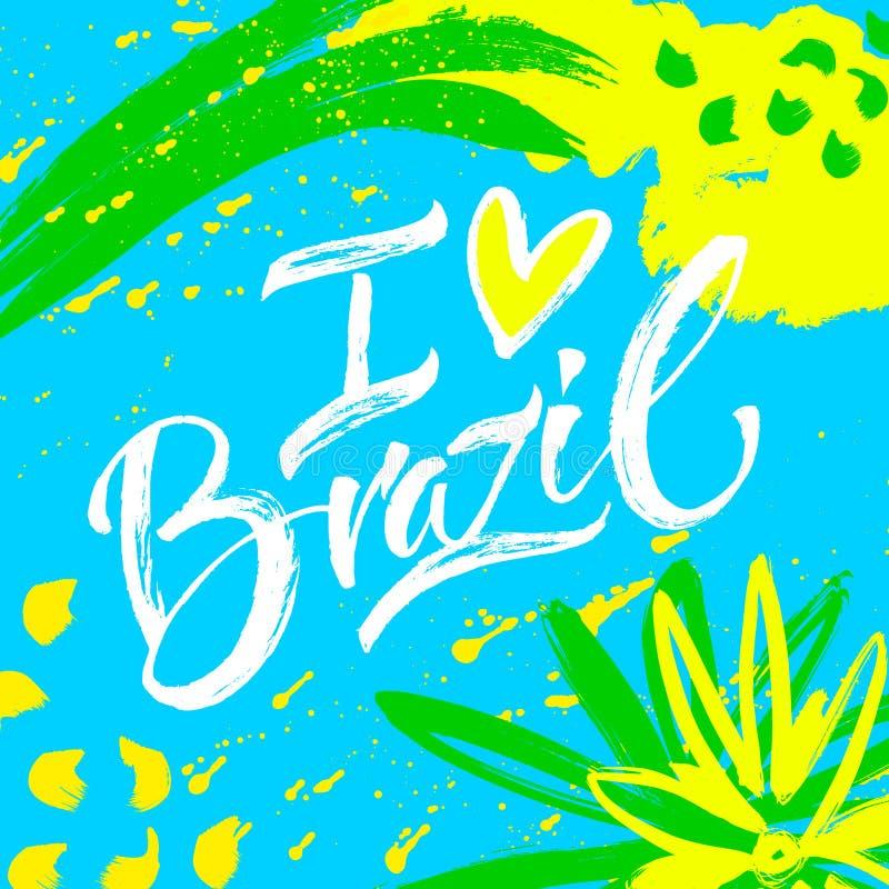 Hand van letters voorziende kaart Brazilië vector illustratie