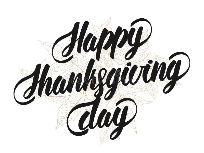 Hand van letters voorziende tekst van Gelukkig die Thanksgiving day met schets van bladeren op witte achtergrond wordt geïsoleerd royalty-vrije illustratie