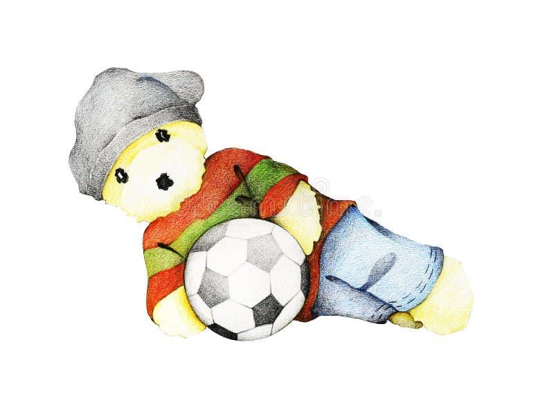 Hand van Leuk Teddy Bear Playing Soccer Ball wordt getrokken dat vector illustratie