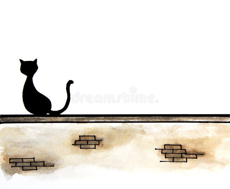 Hand van leuke zwarte kattenzitting op muur met plaats voor tekst wordt getrokken die royalty-vrije illustratie