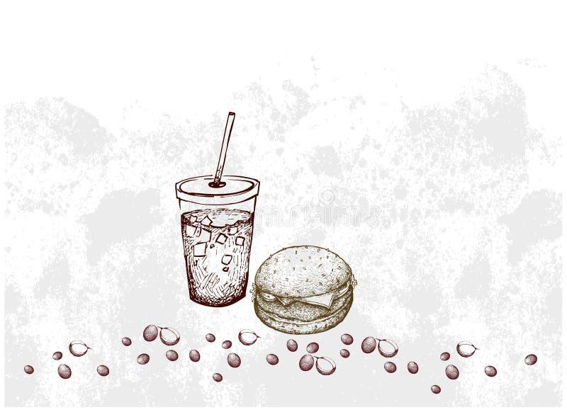 Hand van Varkensvleeshamburger en Bevroren Koffie wordt getrokken die vector illustratie