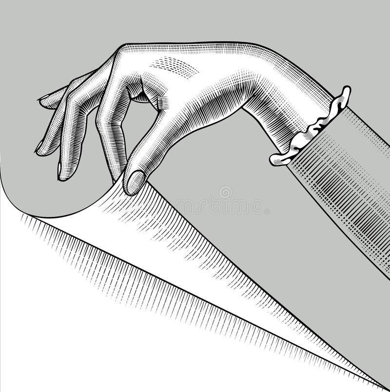 Hand van vrouw met een gekrulde hoek van document pagina vector illustratie