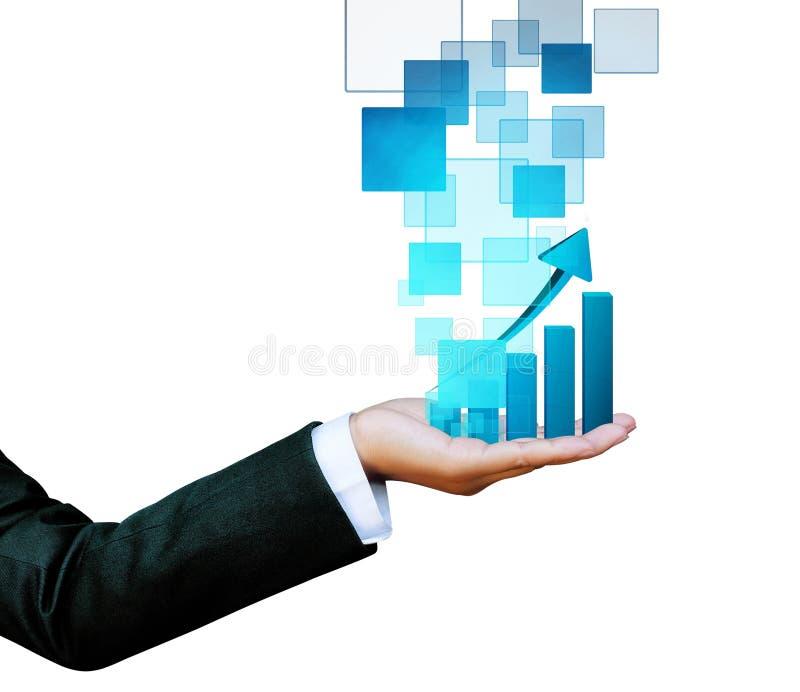Hand van vrouwen in blauwe die grafiekzaken op witte achtergrond worden geïsoleerd stock afbeeldingen