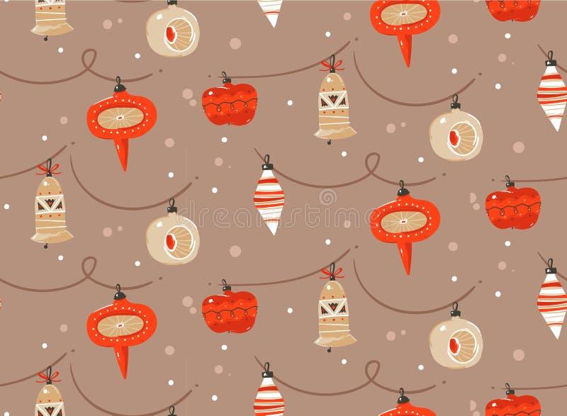 Hand vector abstracte pret Vrolijke Kerstmis en Gelukkig het beeldverhaal rustiek feestelijk naadloos patroon dat van de Nieuwjaa vector illustratie