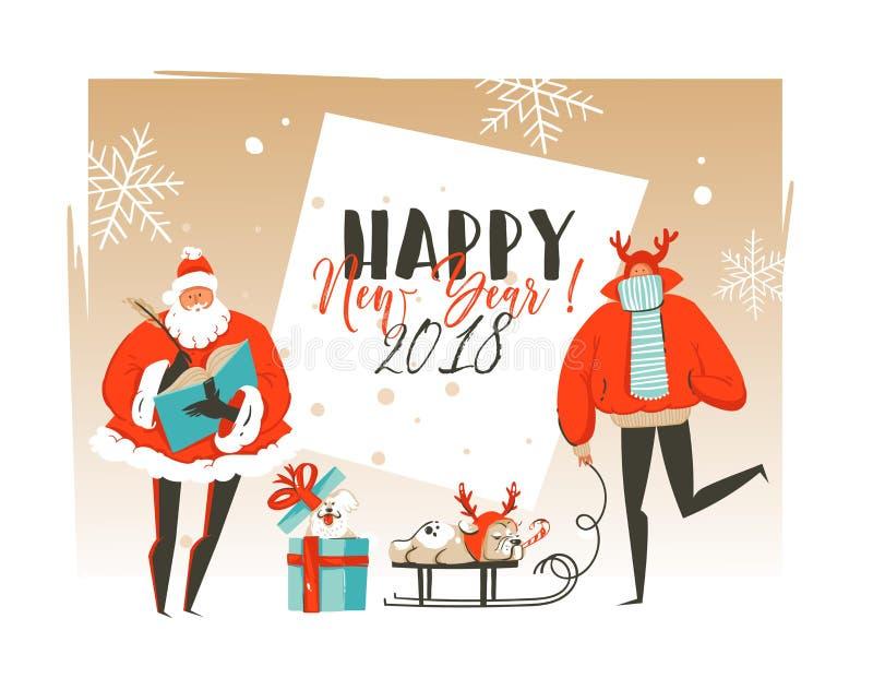 Hand vector abstracte Vrolijke Kerstmis en het Gelukkige van het beeldverhaalillustraties van de Nieuwjaartijd malplaatje dat van royalty-vrije illustratie