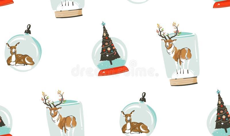 Hand vector abstracte Vrolijke Kerstmis en het Gelukkige van het beeldverhaalillustraties van de Nieuwjaartijd naadloze patroon m stock illustratie
