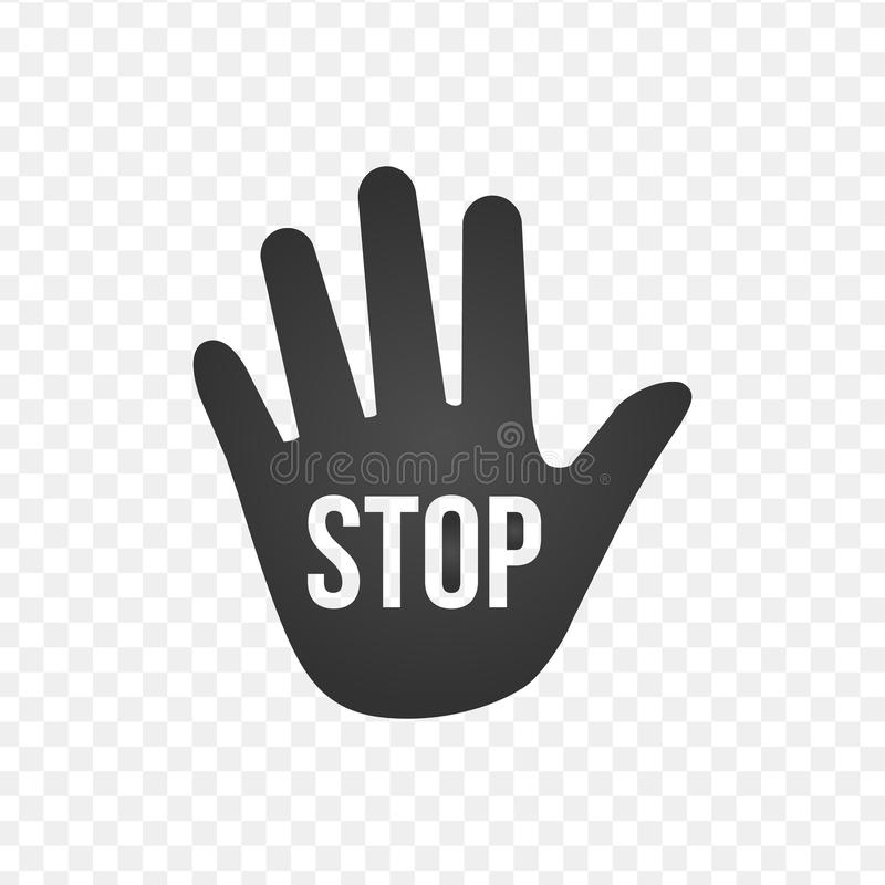 Hand vector icon with stop sign, vector illustration. stock illustration