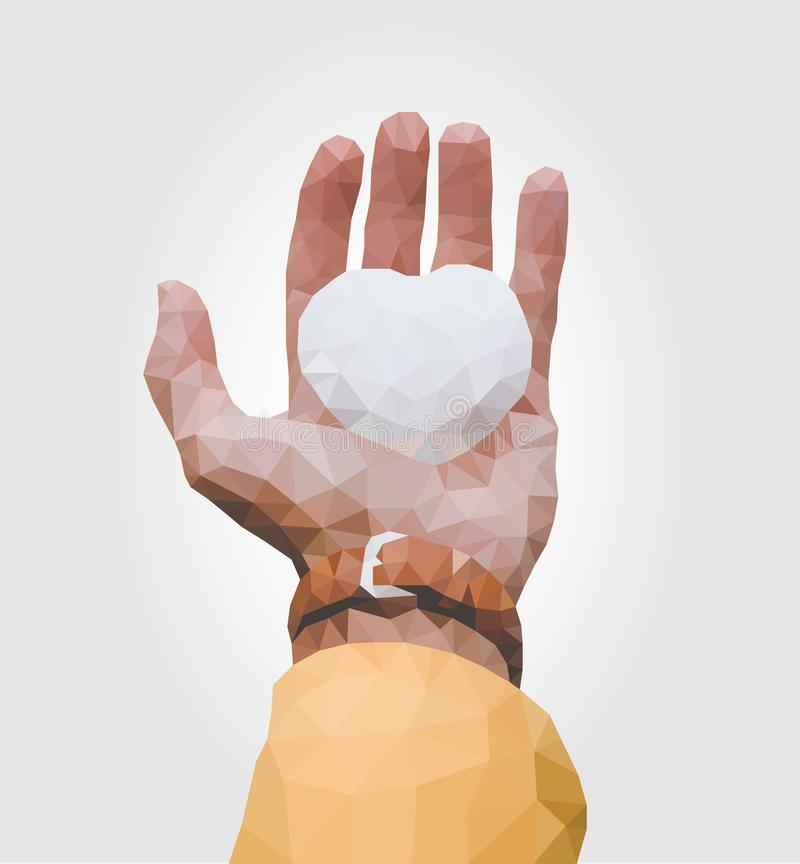 Hand vector low poly - Vector - Vector royalty free illustration