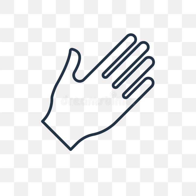 Hand vectordiepictogram op transparante achtergrond, lineaire Hand wordt geïsoleerd stock illustratie
