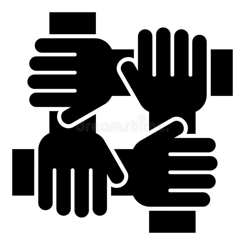 Hand vier, die einfaches Bild der flachen Art der Teamarbeitskonzeptikonenschwarz-Farbillustration zusammenhält lizenzfreie abbildung
