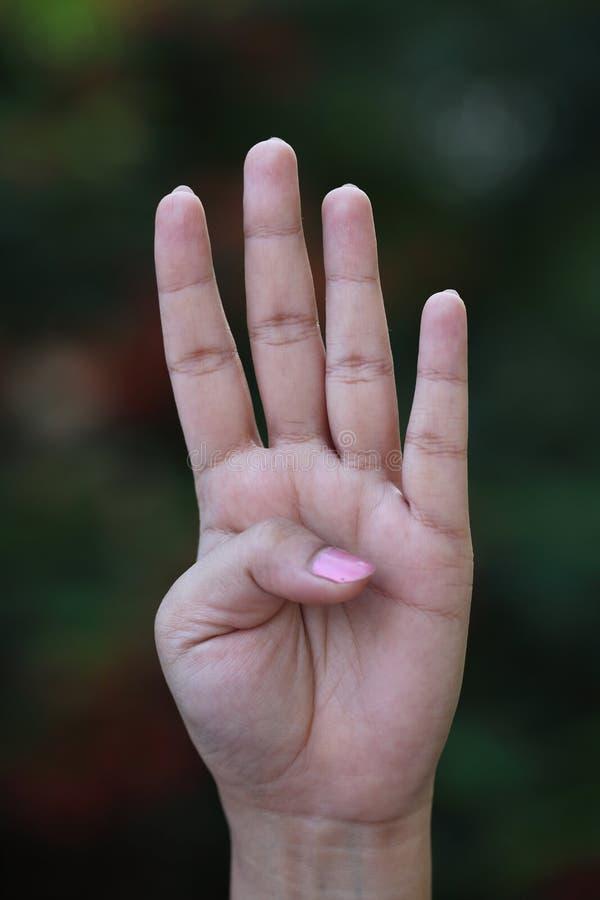Hand vier vingers stock afbeeldingen