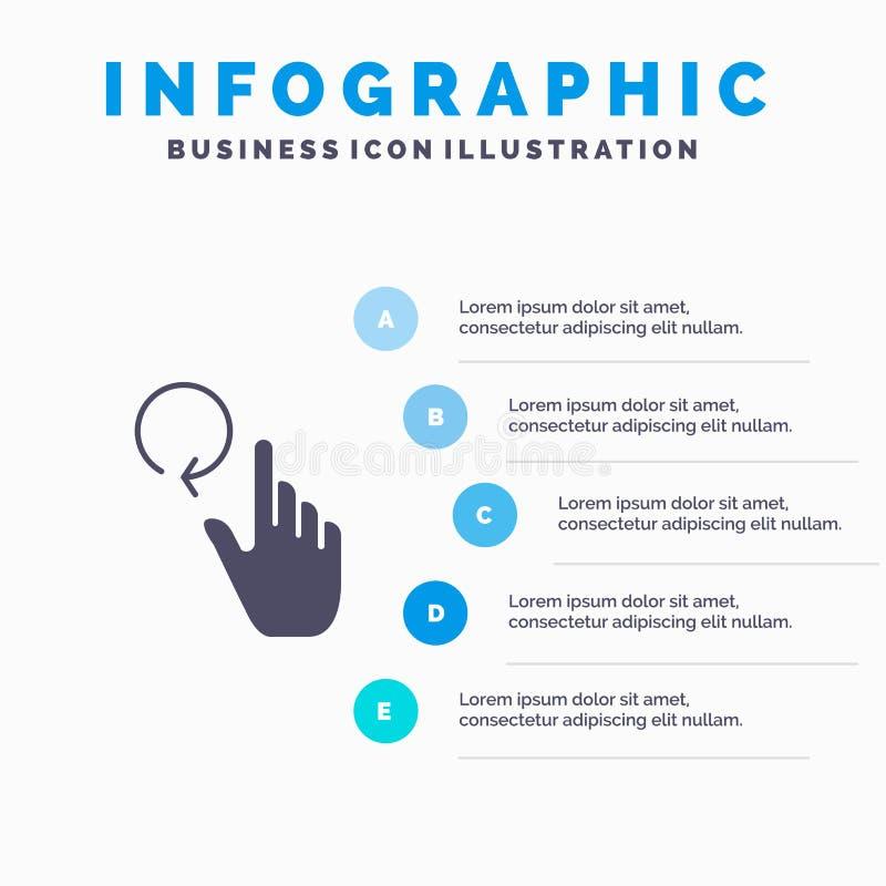 Hand, Vinger, Gebaren, Herladen Stevig Pictogram Infographics 5 de Achtergrond van de Stappenpresentatie royalty-vrije illustratie