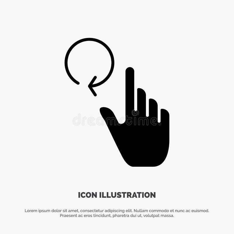 Hand, Vinger, Gebaren, het Pictogramvector van Herladen stevige Glyph royalty-vrije illustratie