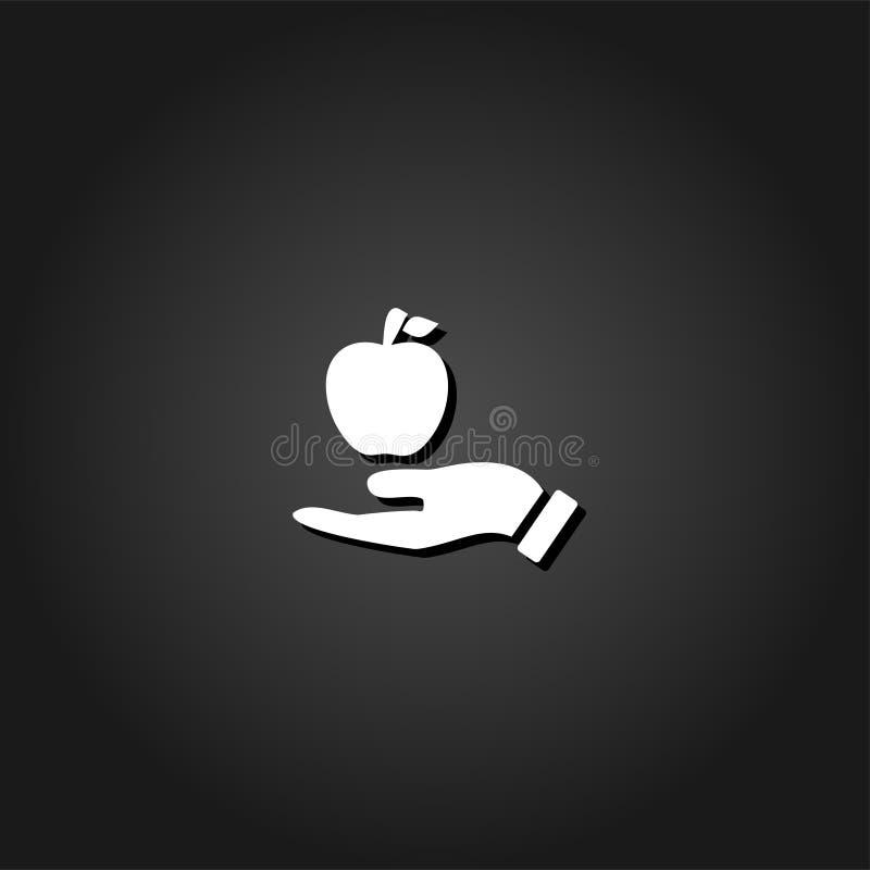 In hand vlakke pictogram van Apple royalty-vrije illustratie